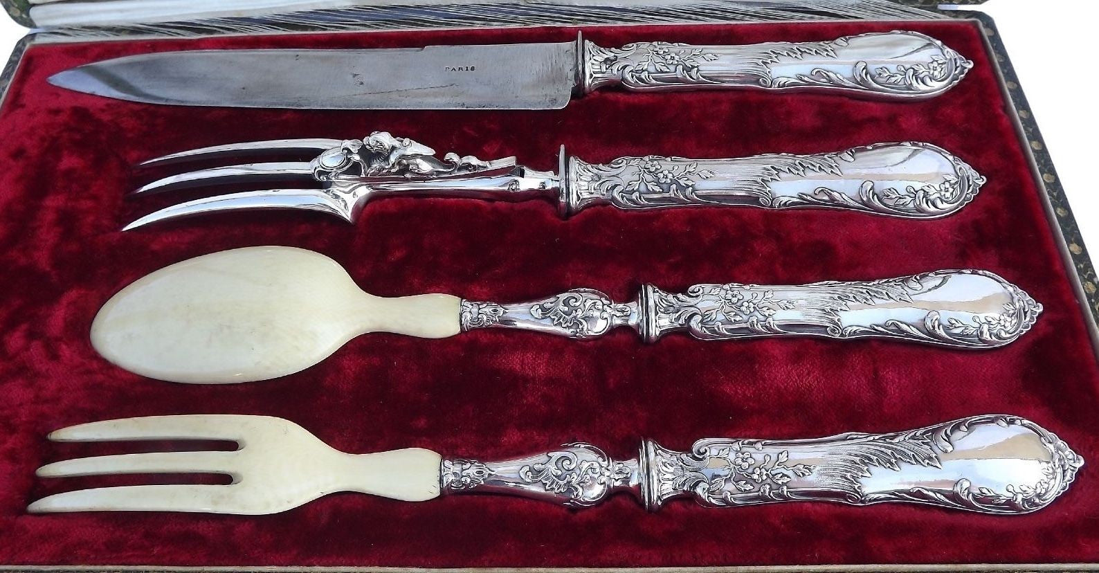 Sterling Silver Meat Carving Serving Set - Charmantiques