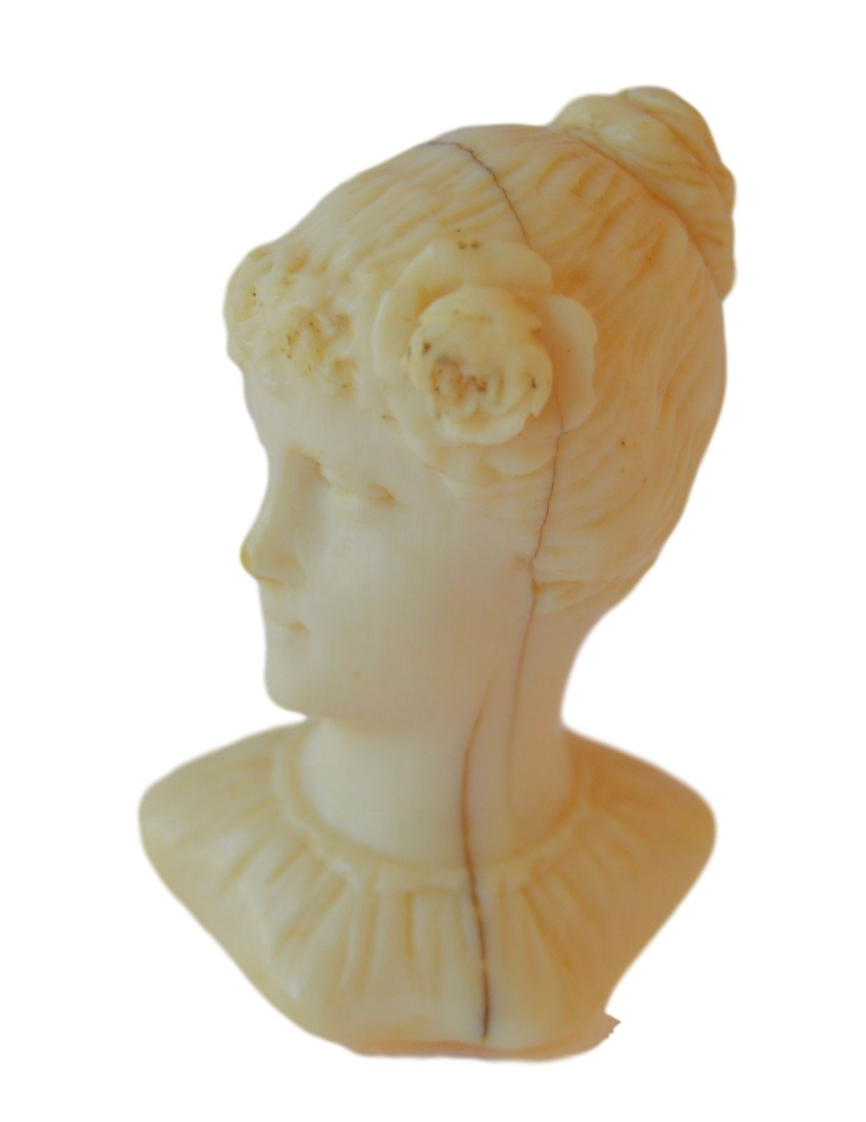 Antique French Hand Carved Wax Seal Sculpture - Woman Bust - 19th.c - French Desk Accessory