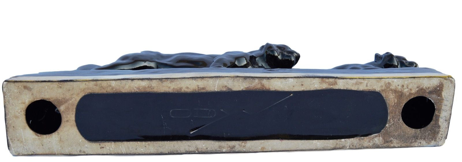 Art Deco ODYV 3 Black Tiger Statue - Charmantiques