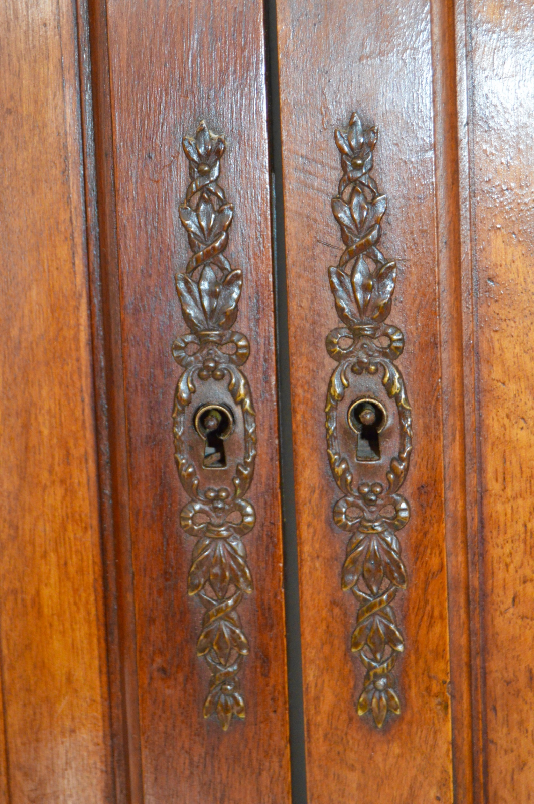 French Antique Louis XVI PAIR Carved Architectural Wood Door - Charmantiques