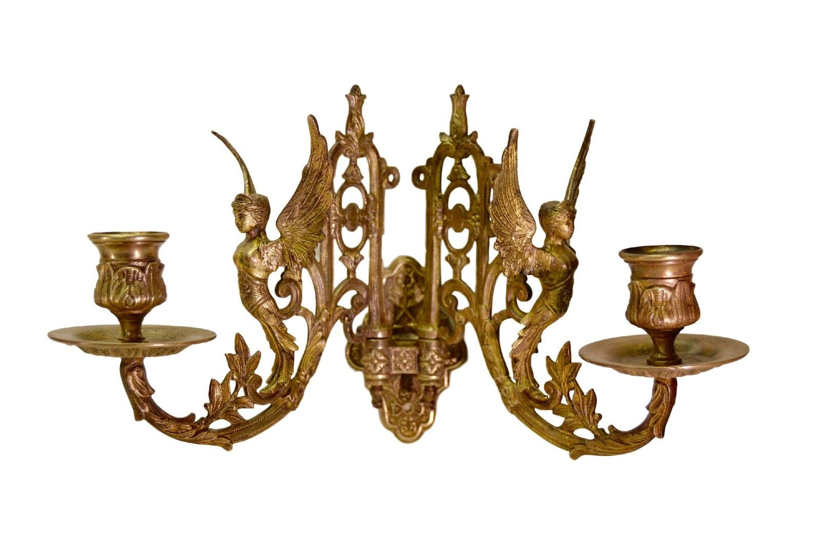 Empire Bronze Pair of Wall Sconces - Charmantiques