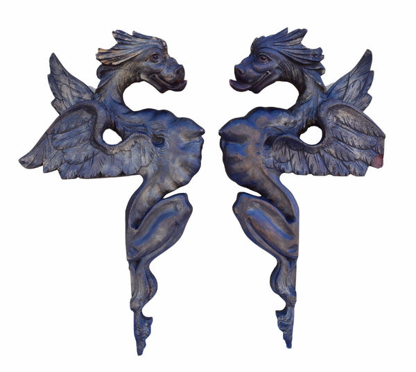 French Antique Extraordinary Pair of Large Hand Carved Griffin Chimera Dragon Pediment - Charmantiques