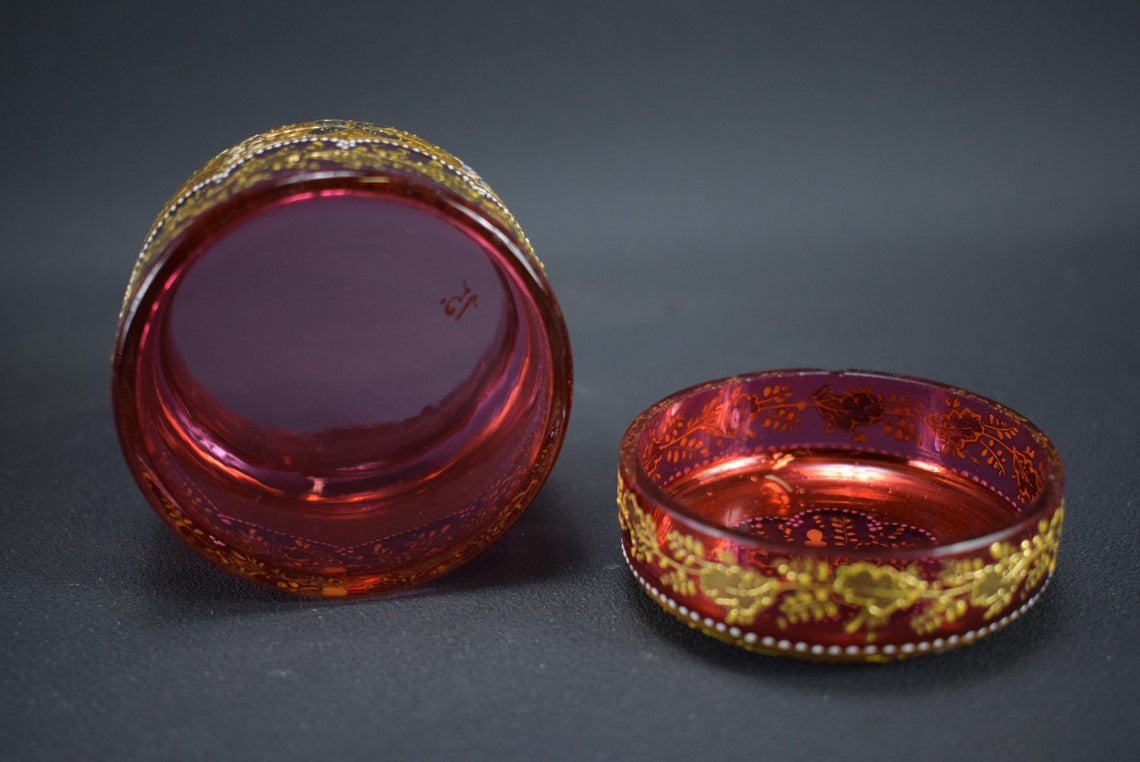 Moser Cranberry Glass Box - Charmantiques