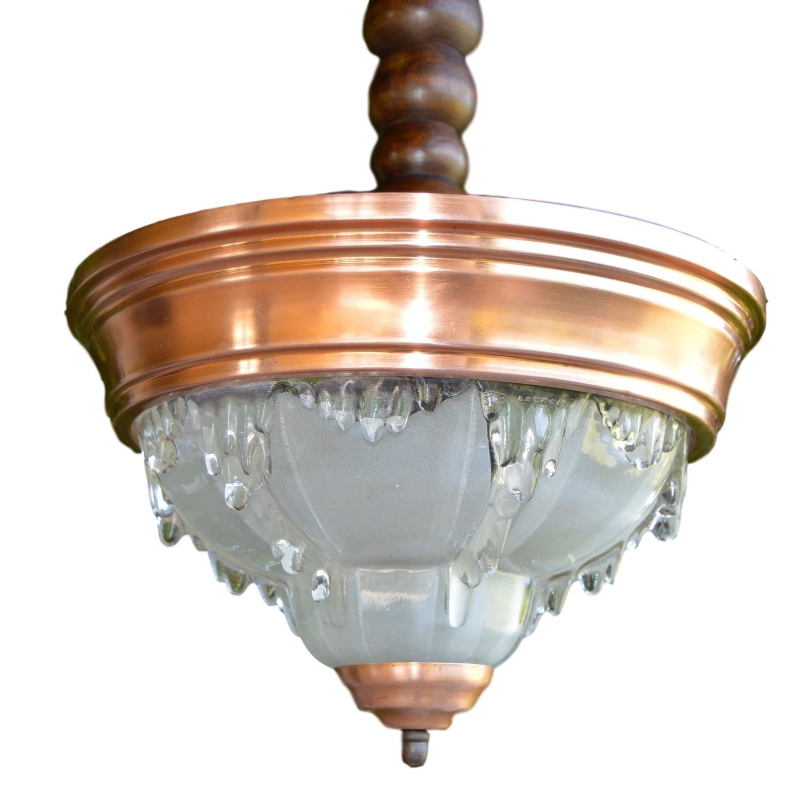 EZAN French Opalescent Glass Art Deco Chandelier Ceiling Lamp Light - Charmantiques