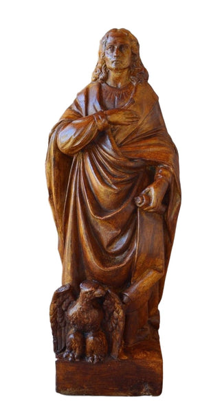 French Religious Saint John Eagle Evangelist Statue Wall Sculpture Terracotta 18th.c