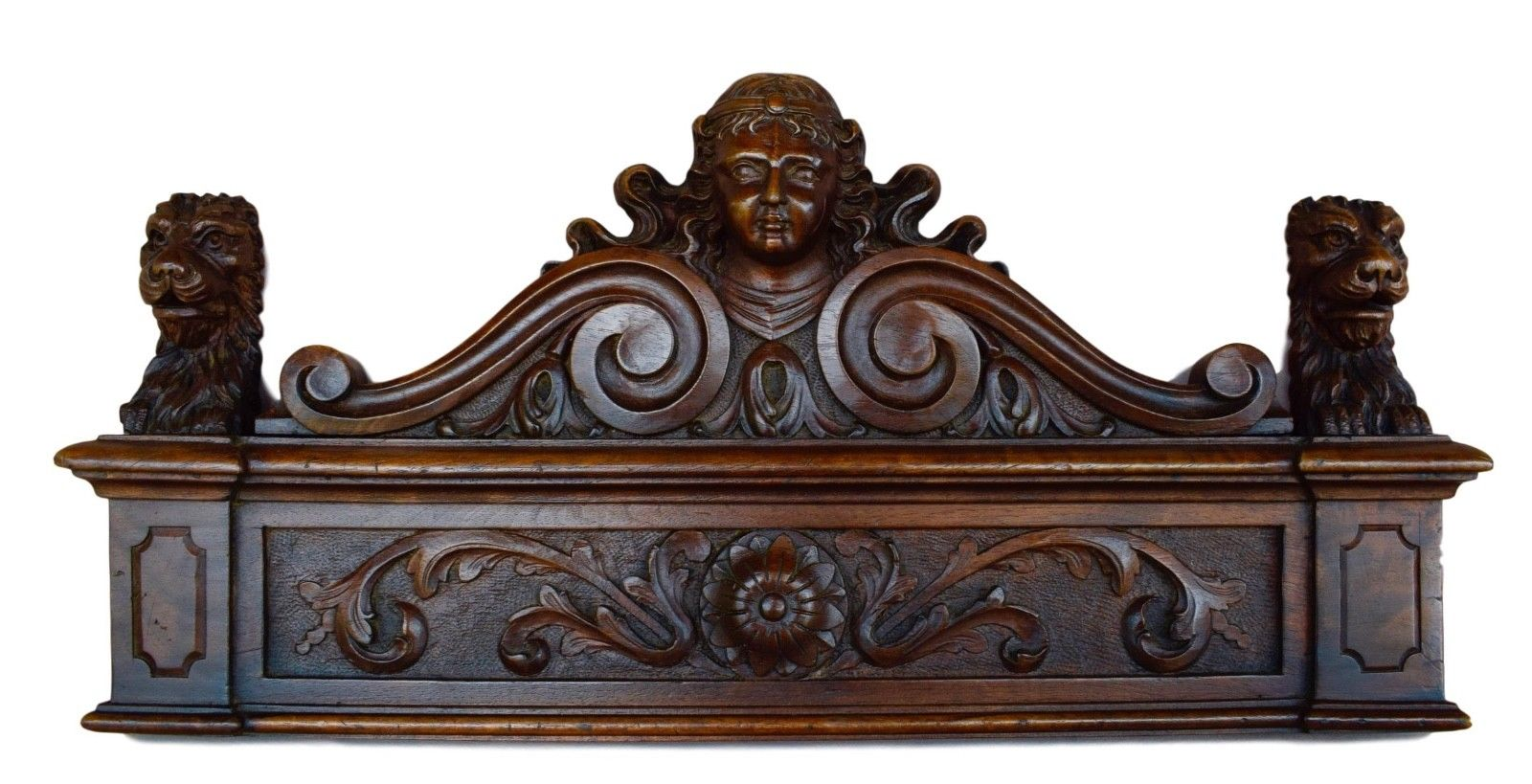 French Antique 19th Hand Carved Walnut Wood Pediment Door Cornice - Lion & Woman Head - Furniture Salvage Wood - Upcycled DIY - Top Door