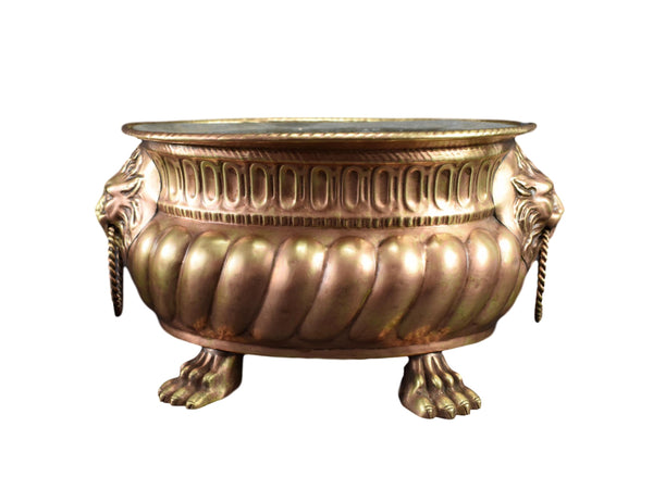 French Antique Copper & Brass Jardiniere - Lion Head Bottles Cooler - Copper Cache Pot Jardiniere