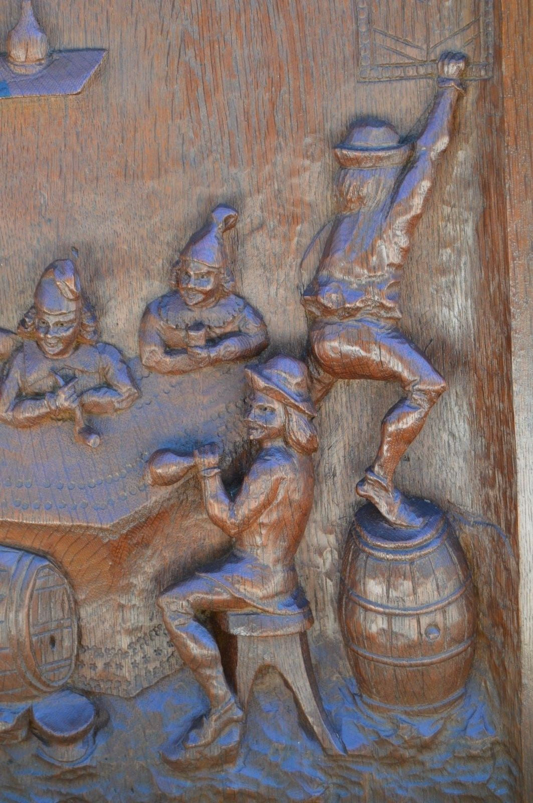 Hand Carved Tavern Wood Panel - Charmantiques