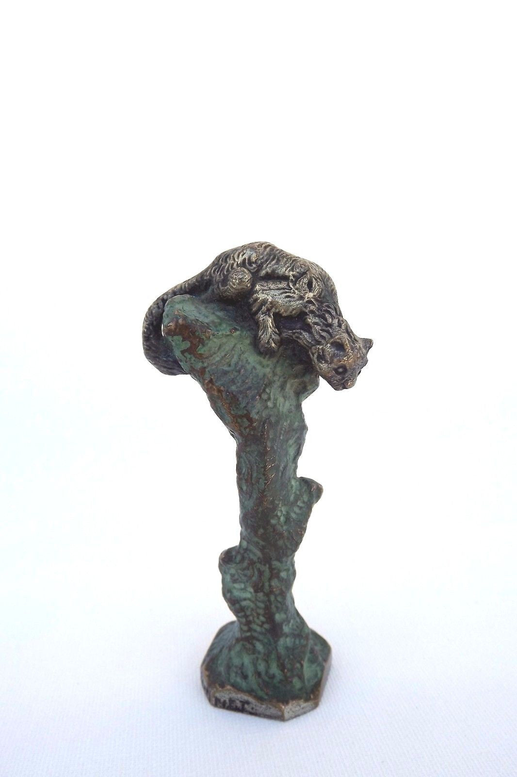 French Albert Marionnet Bronze Cat on Tree Trunk Wax Seal Sculpture 19th.c Rare - Charmantiques