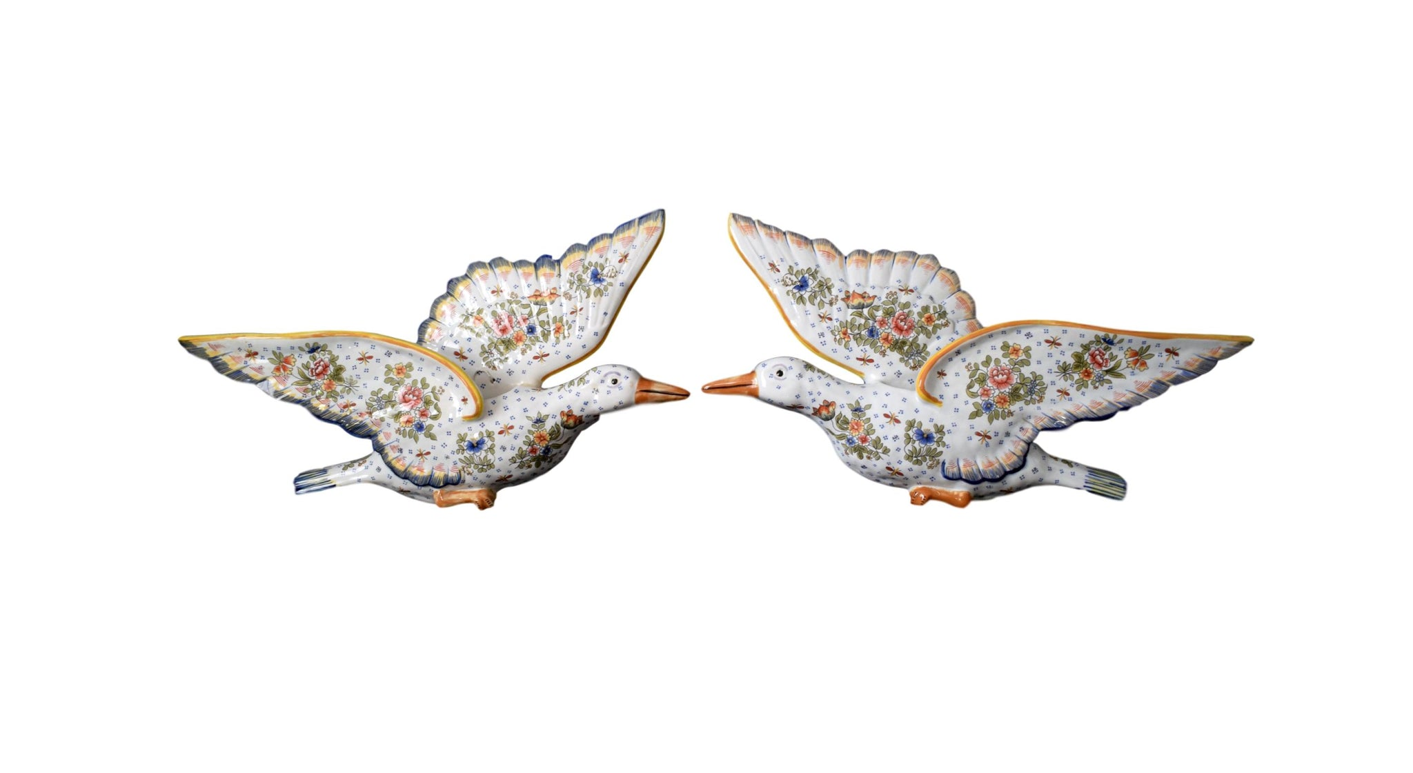 Rare Pair of Gooses Wall Pocket French Antique Hand Painted Desvres Fourmaintraux Rouen Decor - Majolica Figural Flower Wall Vases