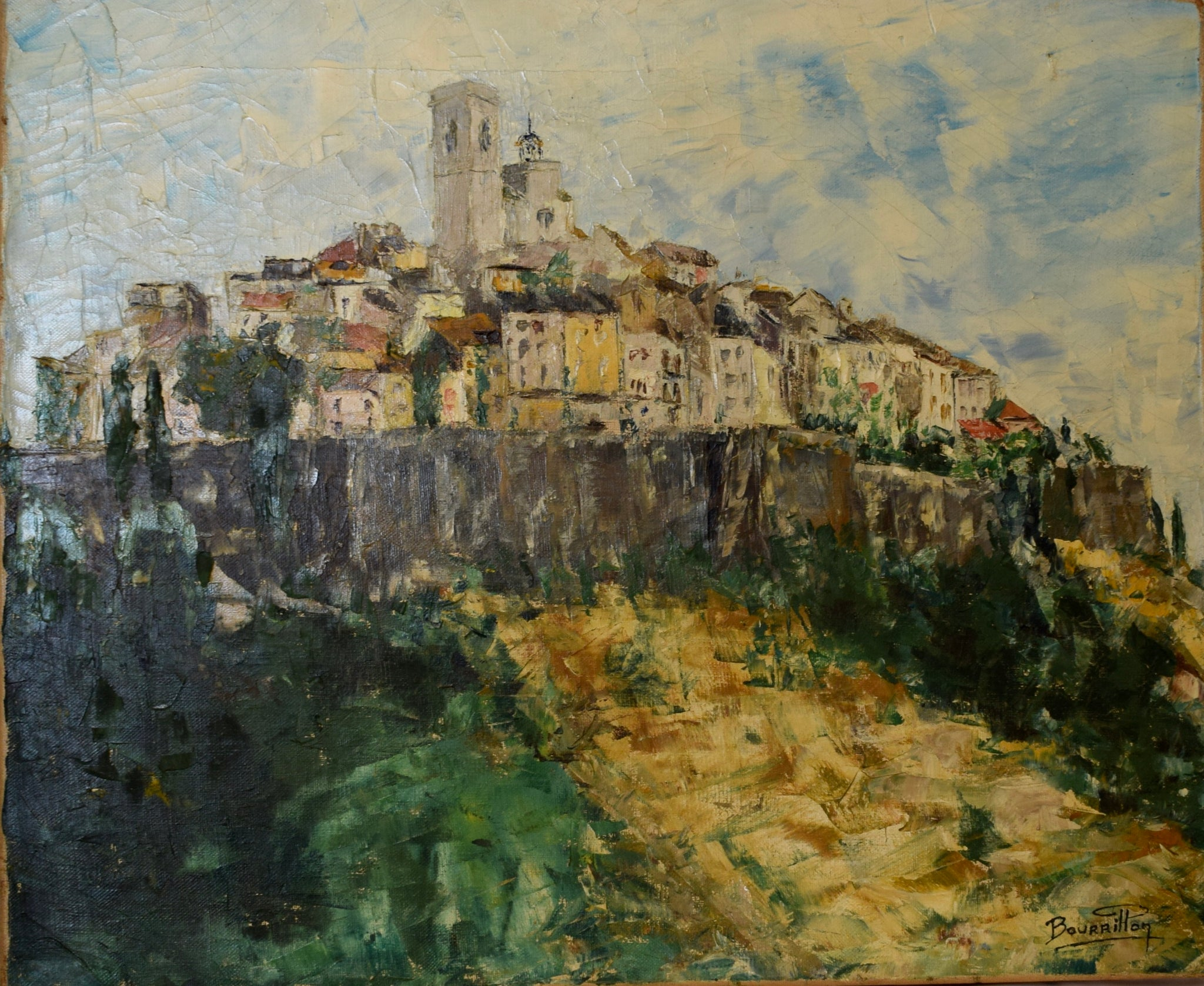 Impressionist Style French Oil Painting on Canvas Saint Paul de Vence Town Signed Bourrillon  - French Town City Village