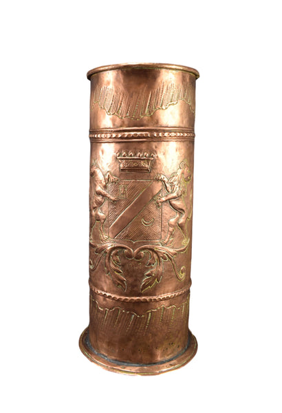 Embossed Copper Umbrella Stick Stand - Charmantiques