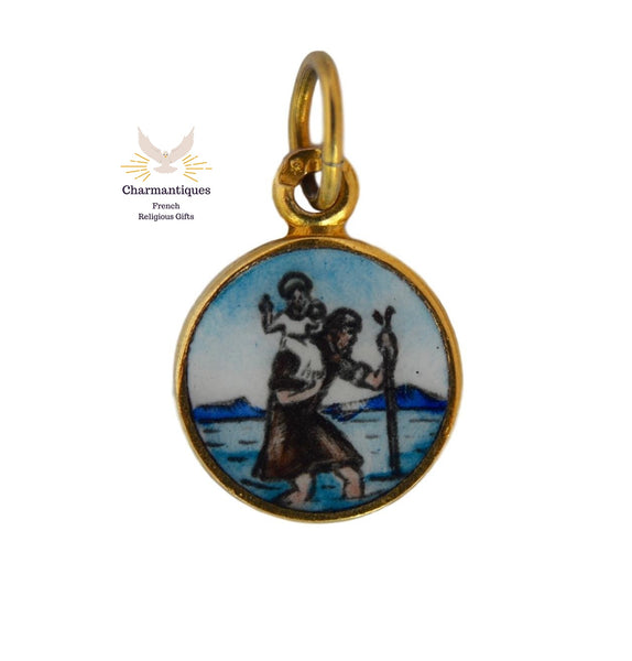 Saint Christopher Enamel Charm - Charmantiques