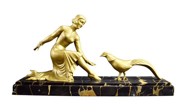 Art Deco Sculpture Woman with a Peacock Statue By E Molins Balleste