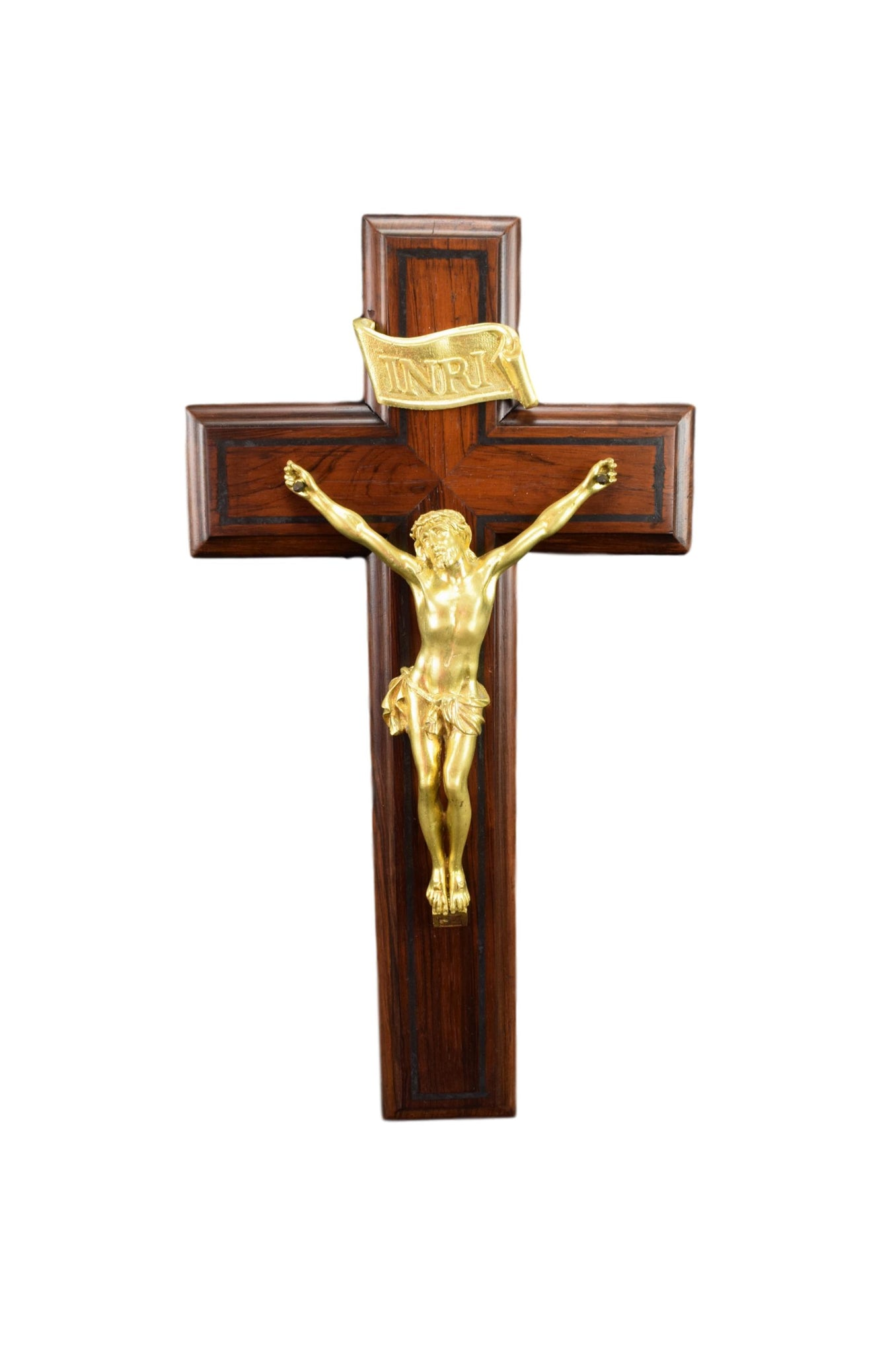 French Art Deco Large Bronze and Wood Wall Cross Crucifix