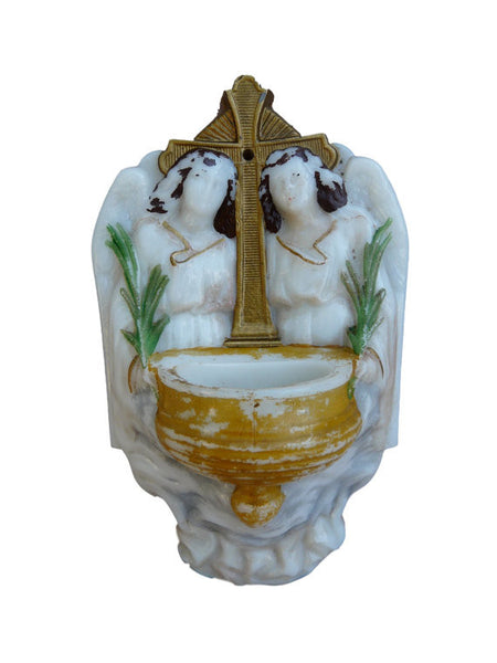 Victorian French Religious Opaline Holy Water Font - Charmantiques