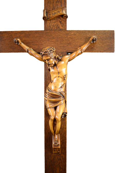 "28"" Carved Wood Wall Crucifix Cross"