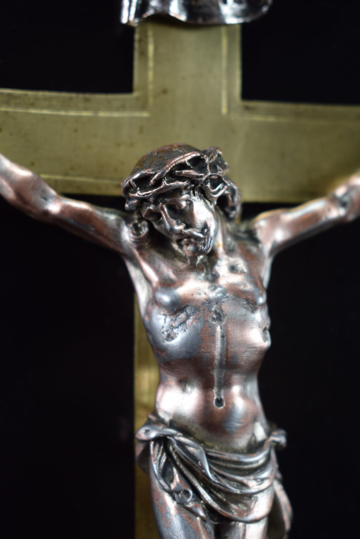 Wall Black Marble Cross Crucifix 19th