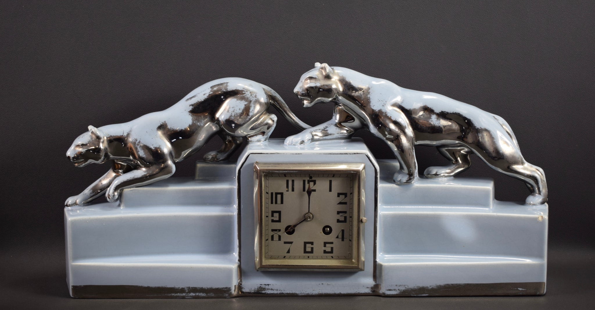 Art Deco Odyv Blue Clock Panther Lion