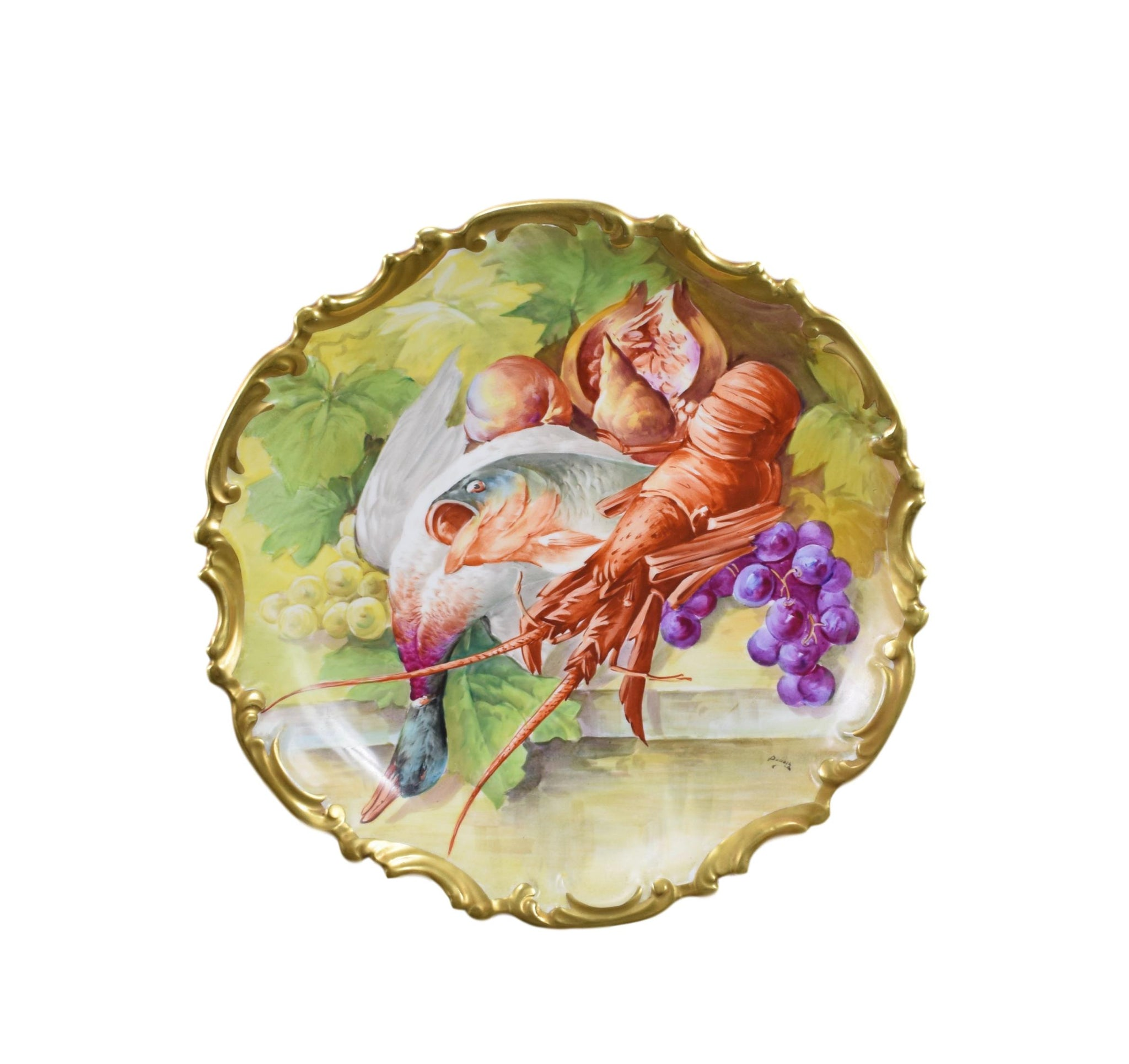 Limoges Hand Painted Plate Dubois - Charmantiques