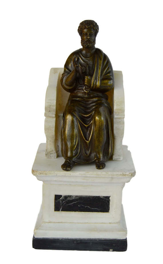 SOLD St. Peter on Alabaster Throne - Charmantiques