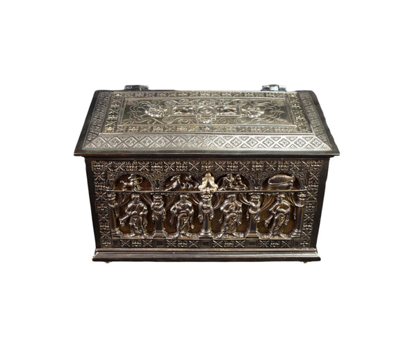 French Antique RARE Gothic Casket Jewelry Box Zodiac