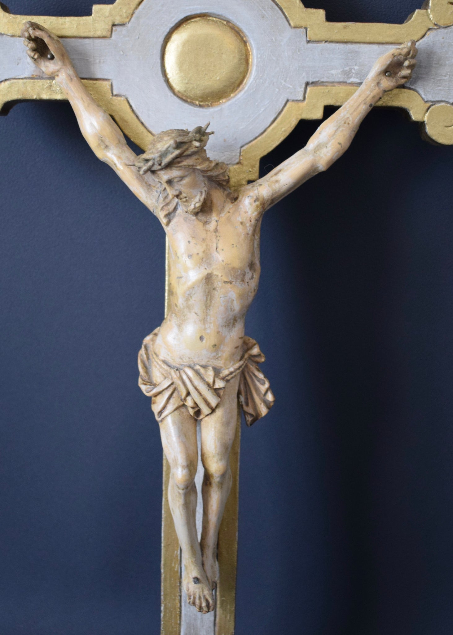 Carved Wood Crucifix Sculpture - Charmantiques