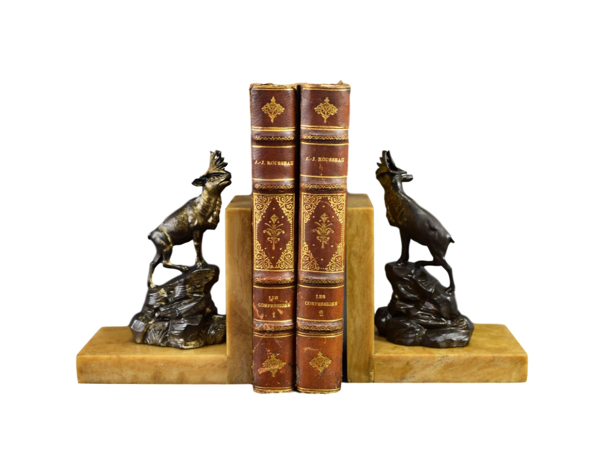 French Art Deco Bookends Elks Signed  Marble Base