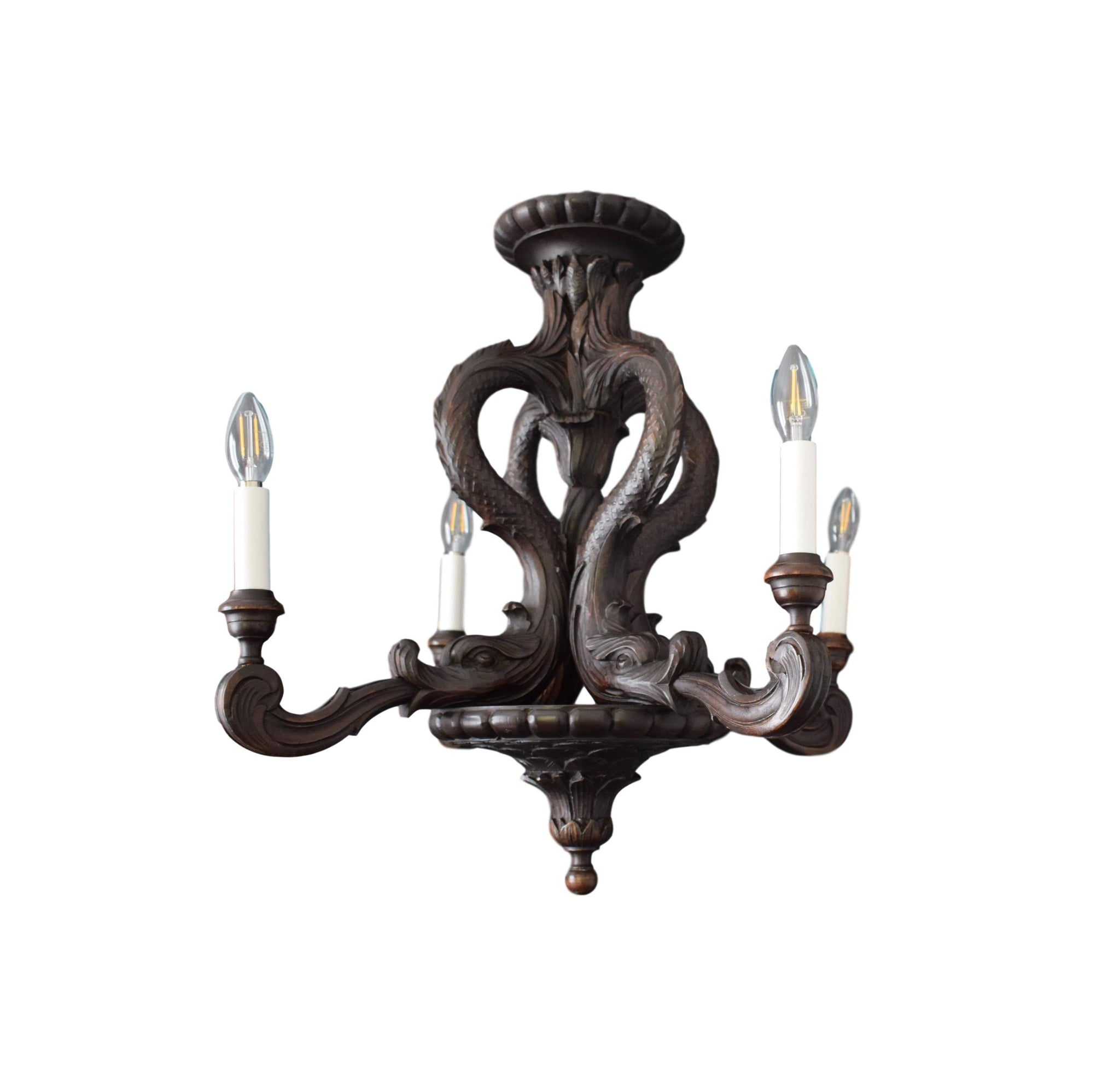Antique French Hand Carved Wood Large Chandelier - Victorian Ceiling Light - Dolphins 4 Lights