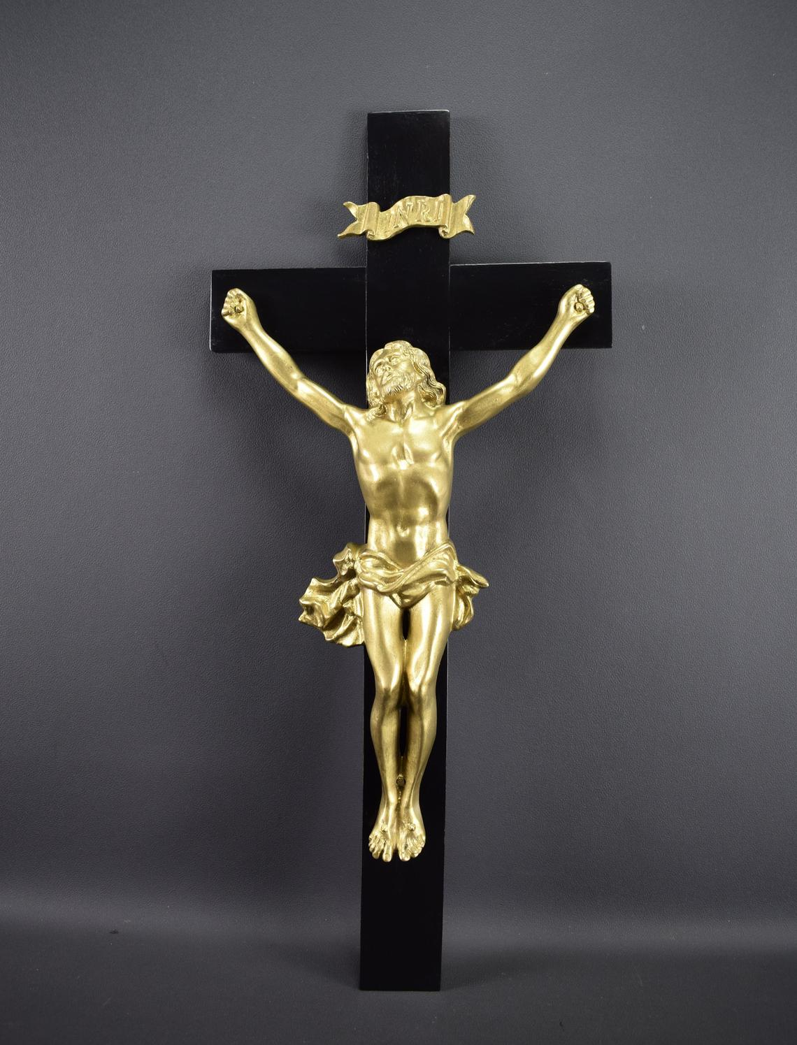 VINTAGE French Antique Large Bronze Cross Crucifix 19th 21 1/4 inches
