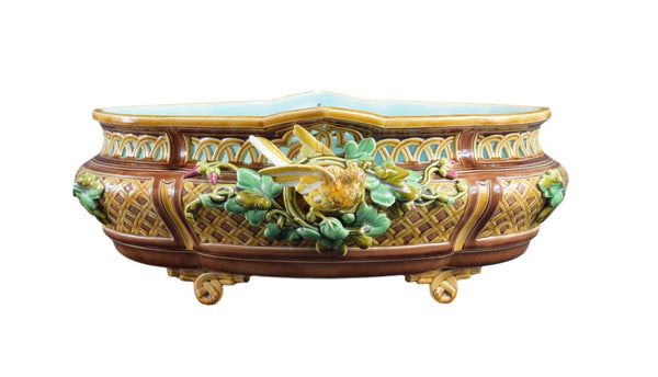 Art Nouveau Sarreguemines Large Majolica Jardiniere, French Antique Cache Pot, Glazed Ceramic Flower Pot