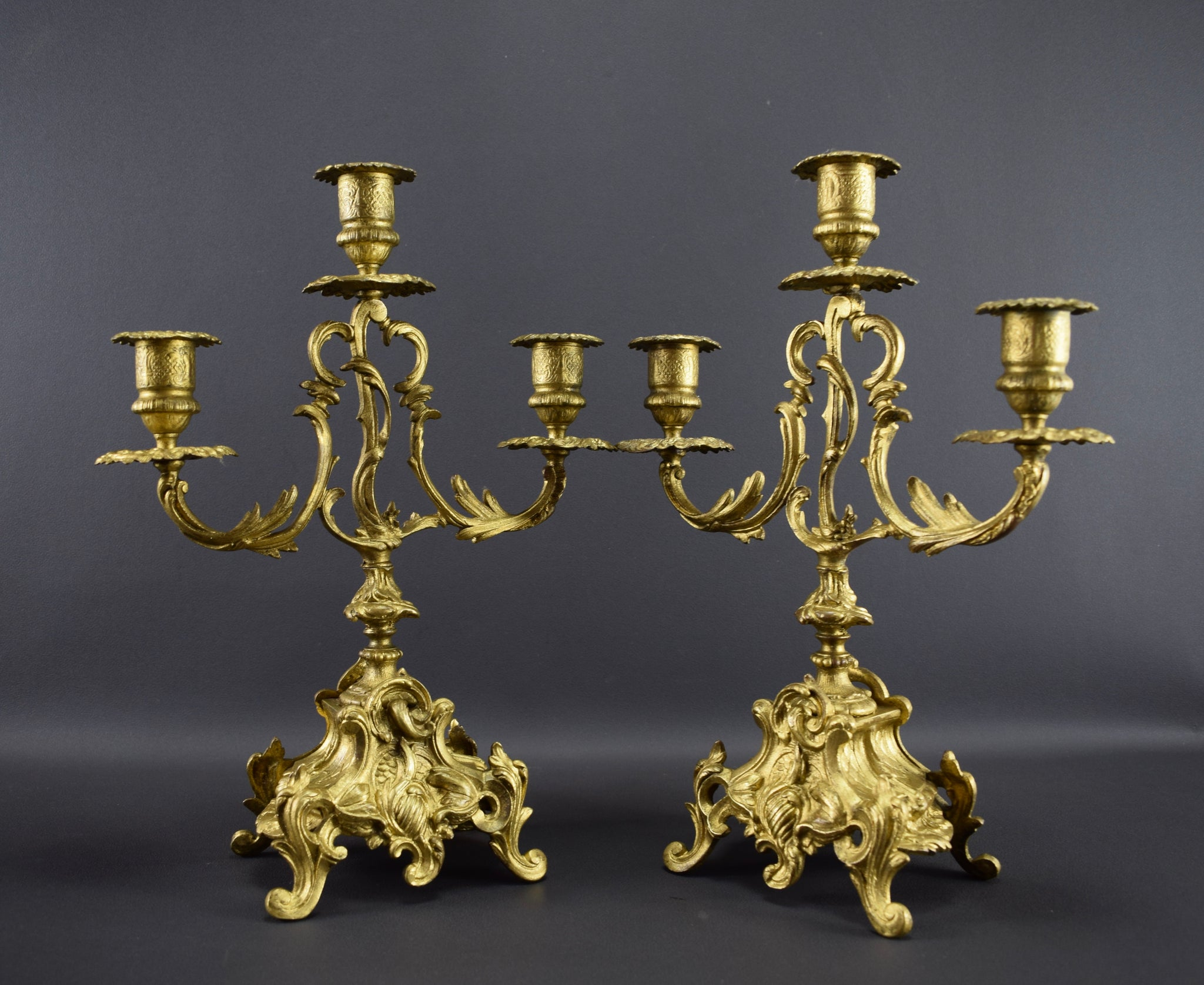 Pair of Louis XV gilt bronze candlesticks