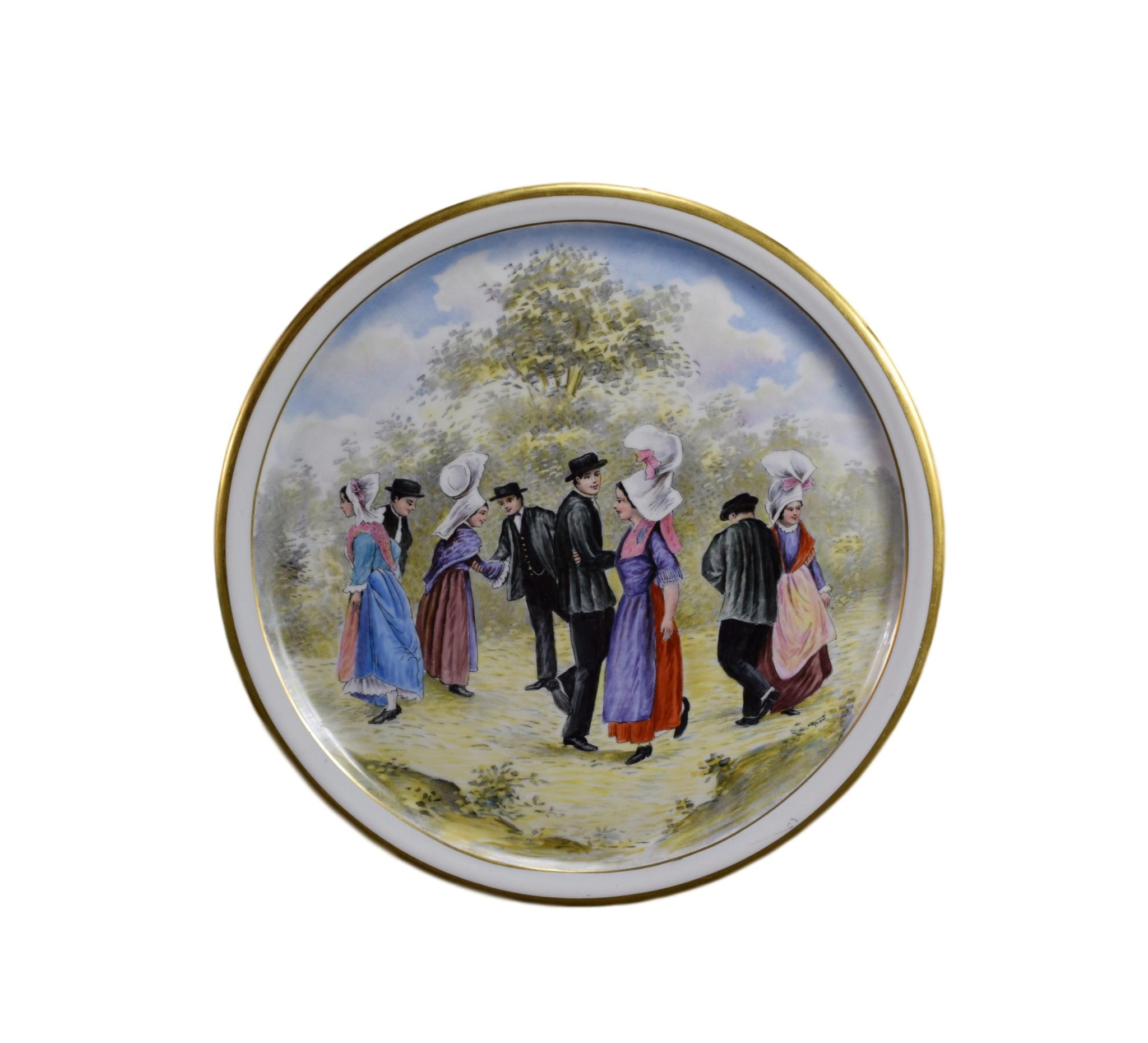 French Antique Large Limoges Porcelain  Plate Signed, Hand Painted Dancers Decor