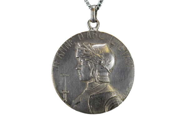 French Large Saint Joan of Arc Medal by LO Mattei