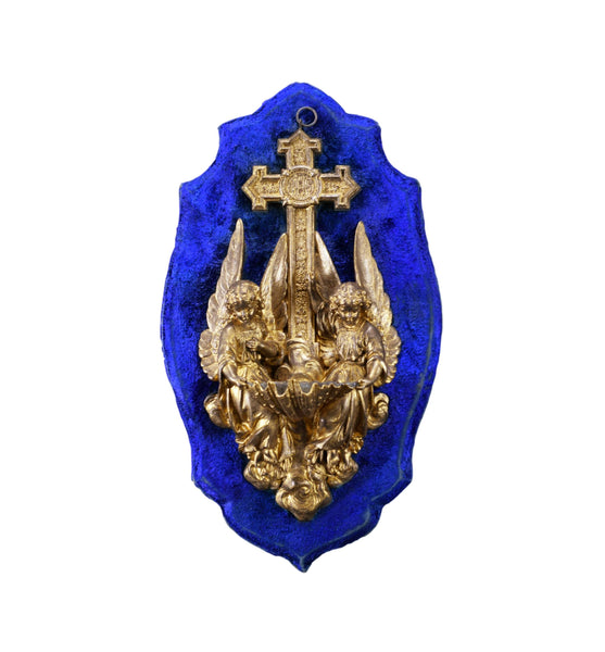 French Blue Wall Hanging Holy Water Font Angels