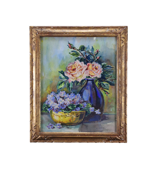 Antique French Floral Still Life Watercolor Bunch of Flowers Signed