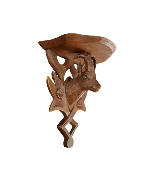 French Black Forest Hand Carved Wood Chamois Goat Wall Shelf Bracket for a Cabin Decor Console