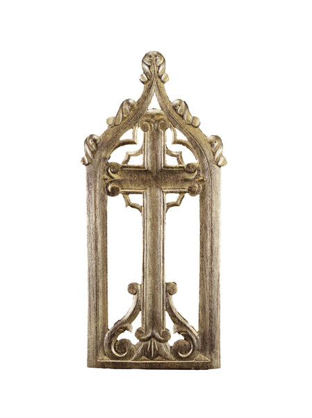 French Vintage Gold Wood Gothic Wall Cross