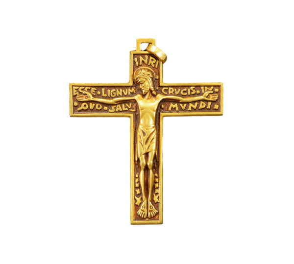Fernand PY French Vintage Pectoral Gold Cross Crucifix Pendant