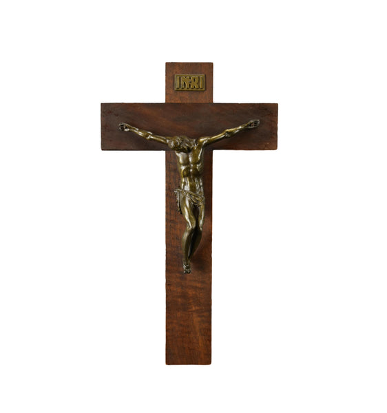 French Antique Dorlia Modernist Wall Cross Wood Wall Hanging Crucifix