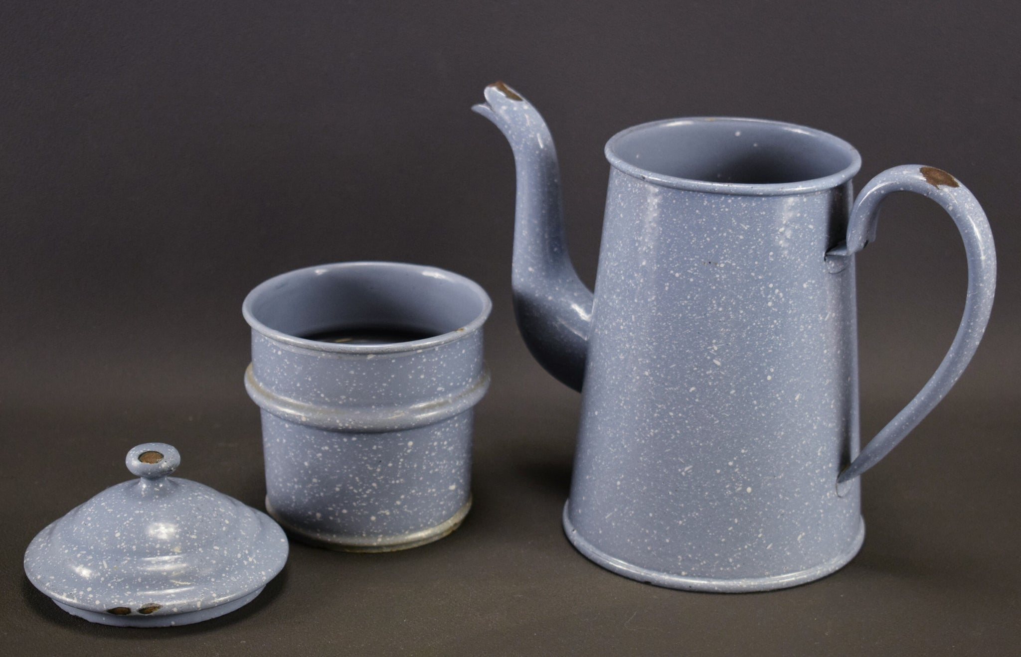 Mottled Blue White Coffee Pot