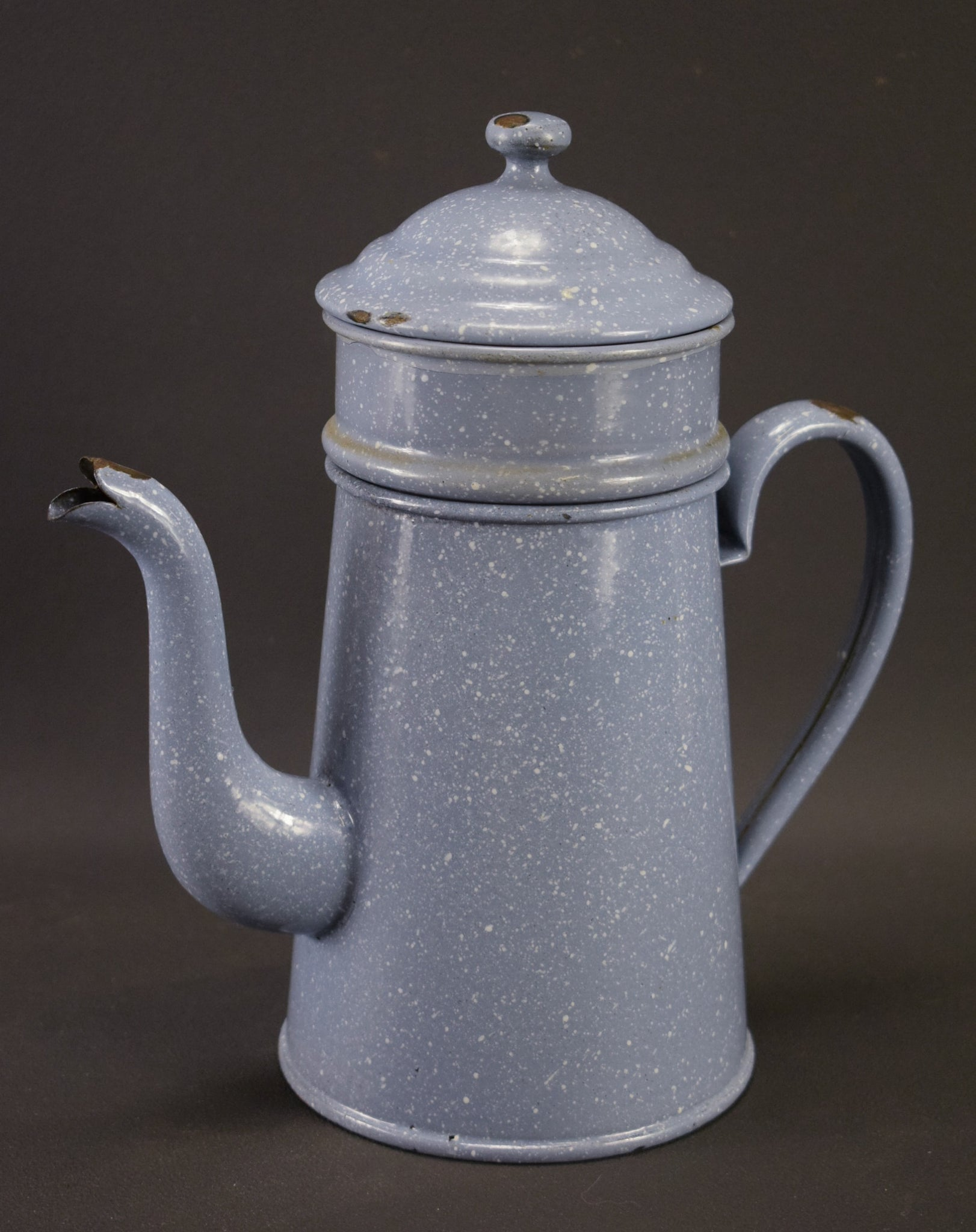 French Vintage Mottled Blue and White Enamel Coffee Pot Shabby Chic Kitchenalia
