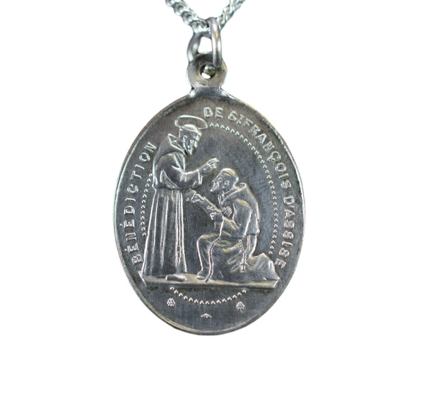 Saint Francis Of Assisi Blessings Pendant Sterling Silver Medal