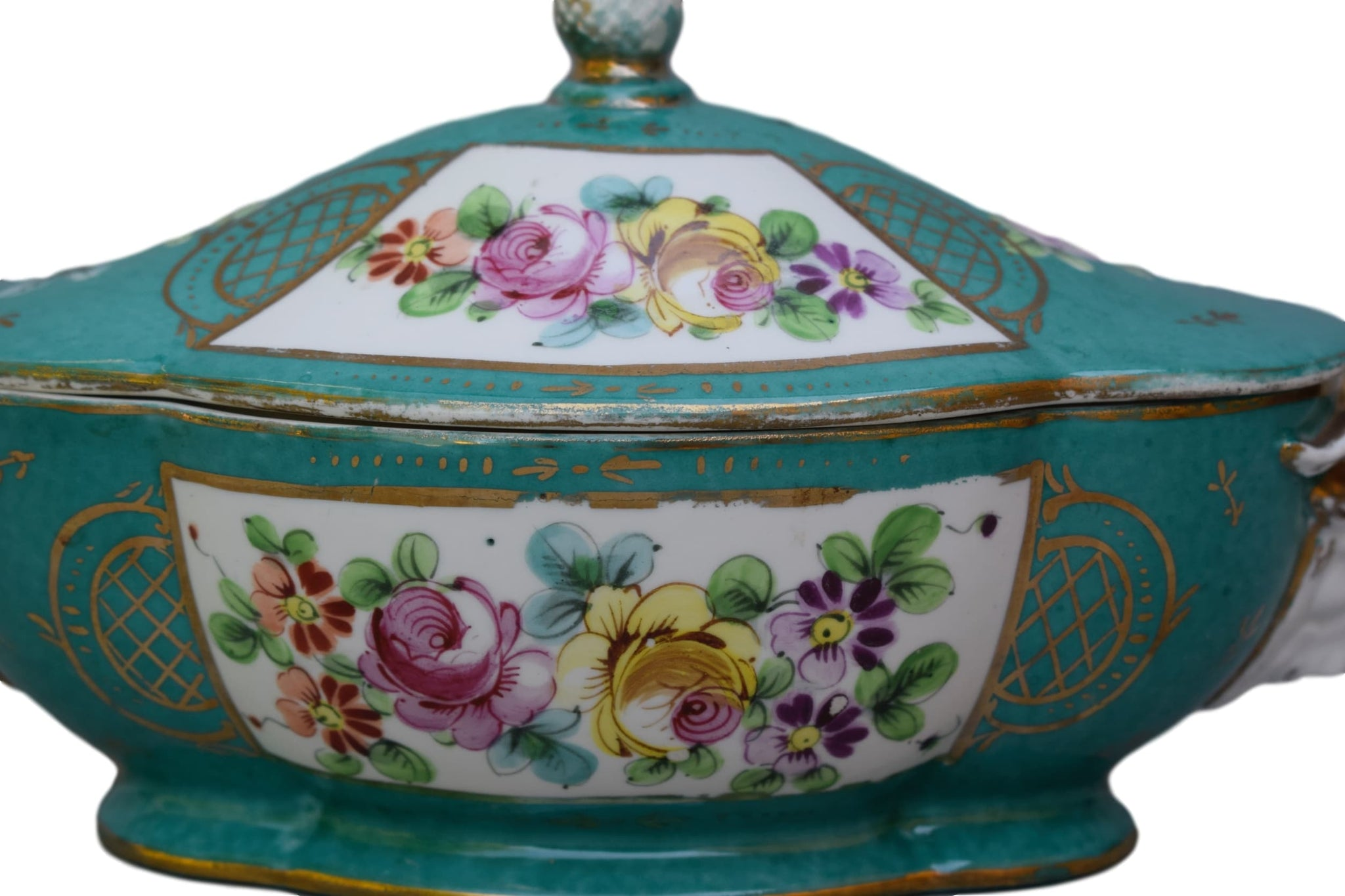 French Antique Hand Painted Meissen Style Porcelain Box - Floral Tureen Vejetable Dish - Ram Head Face Decor Handle - Chic Tableware