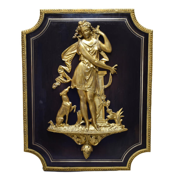 Exceptionnal Diana The Huntress Bronze Panel - Charmantiques