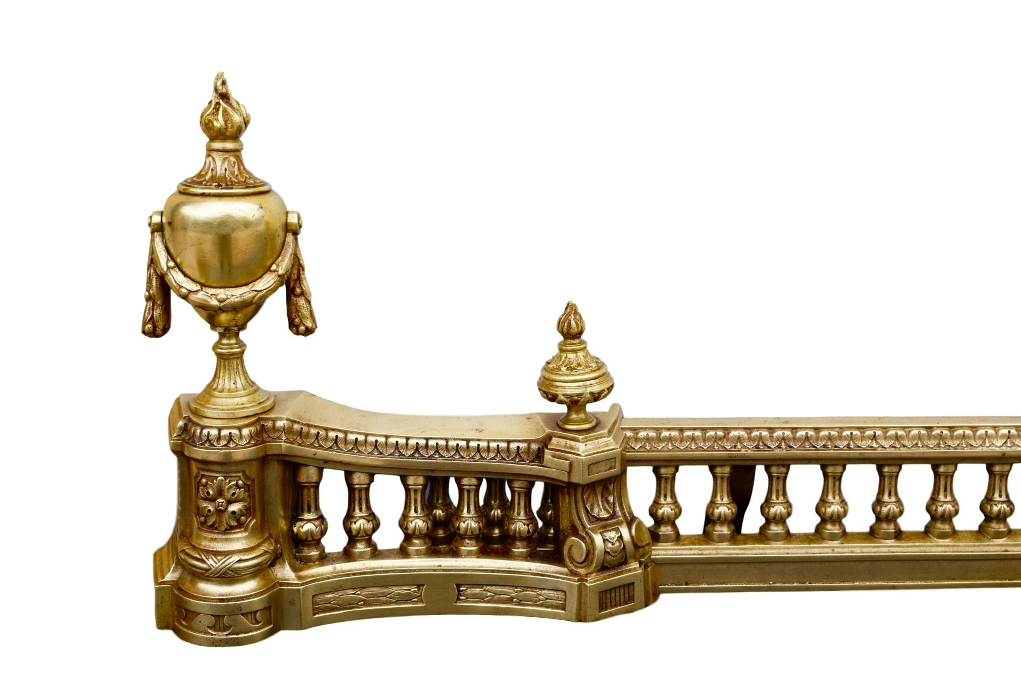 French Antique Ormolu Brass Louis XVI Style Andirons - French Chenets Fireplace Set - Pair of Andirons