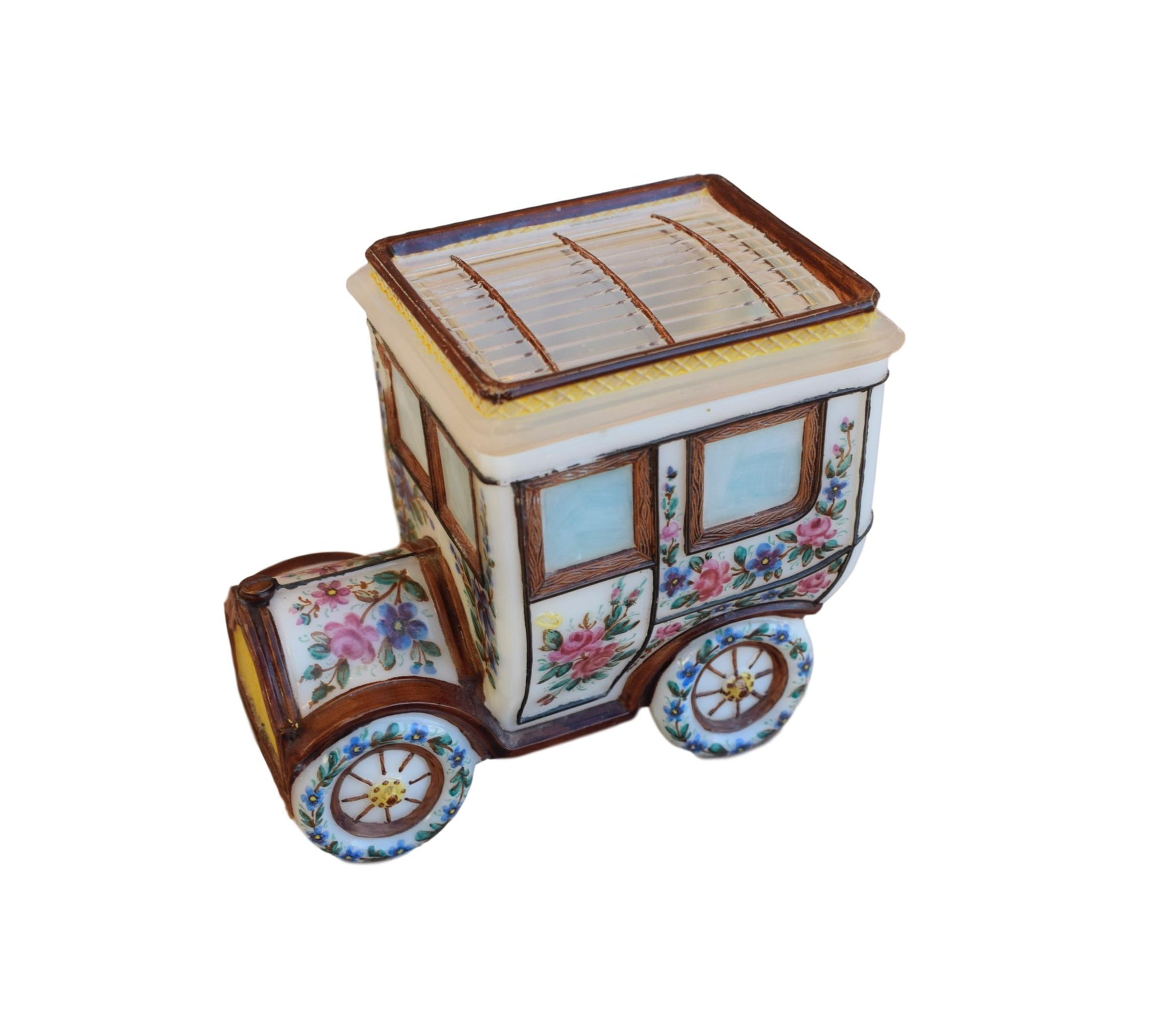 French Portieux Opaline Car Box - Hand Painted Flowers Milk Glass Candy Jar - Antique Biscuits Lidded Box - Automobile Box