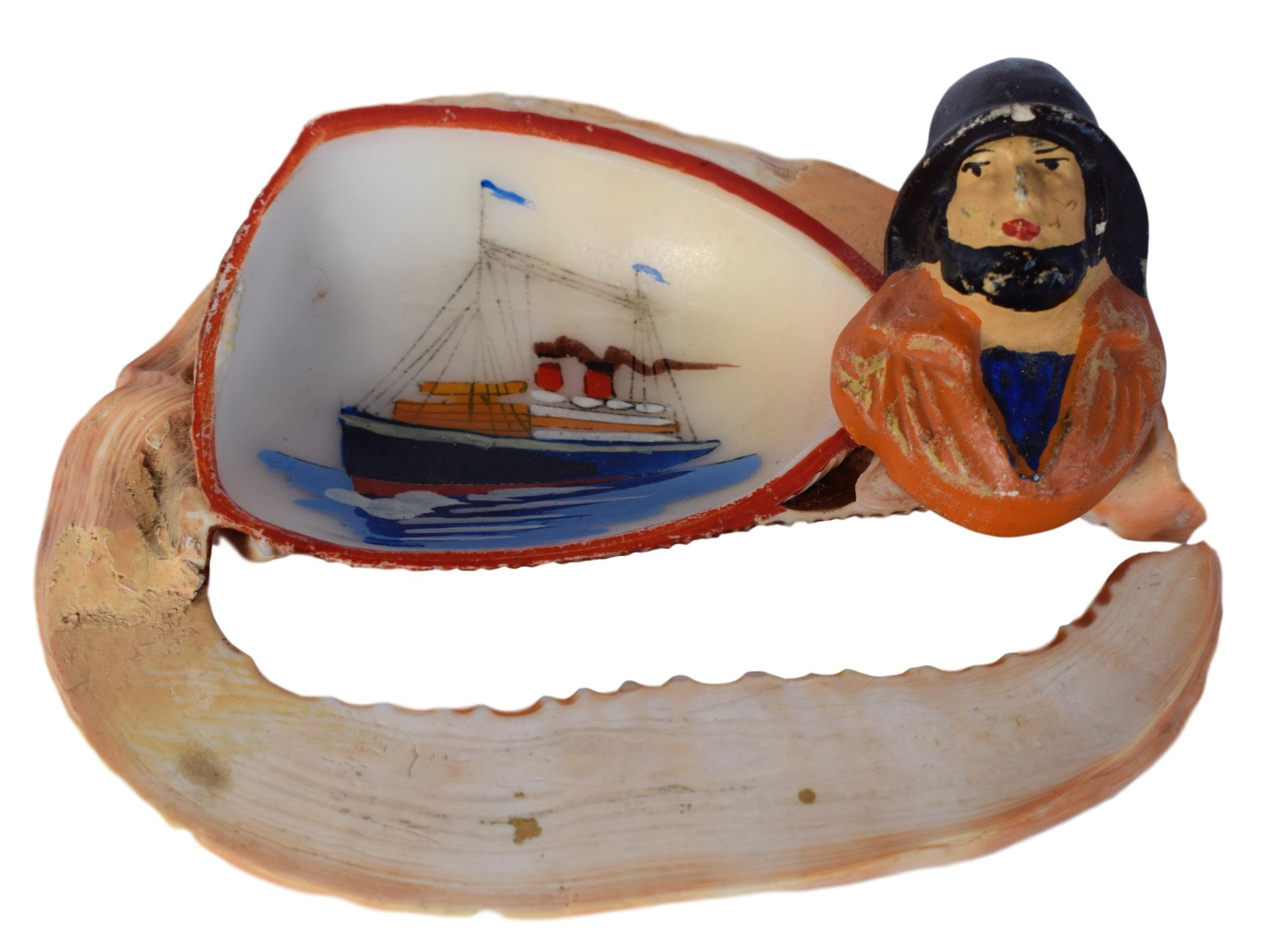 French Vintage Hand Painted Seashell Trinket Bowl - Hand Made French Boat Beach Souvenir - Sailor Portrait Normandy Holidays Souvenir 1920