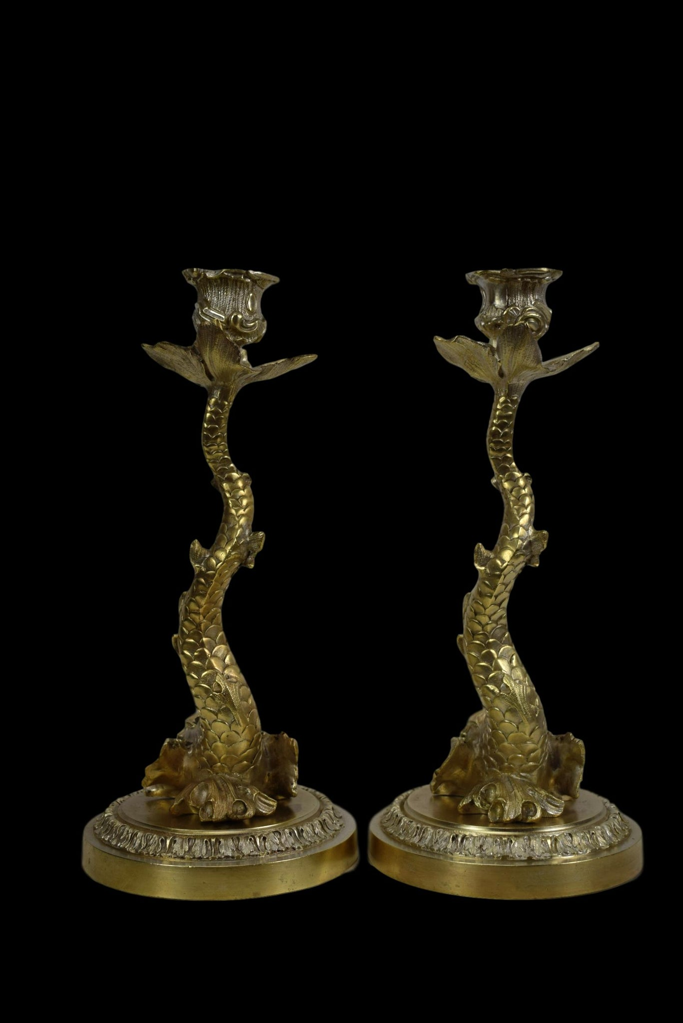 Dolphin Bronze Candlesticks - Charmantiques