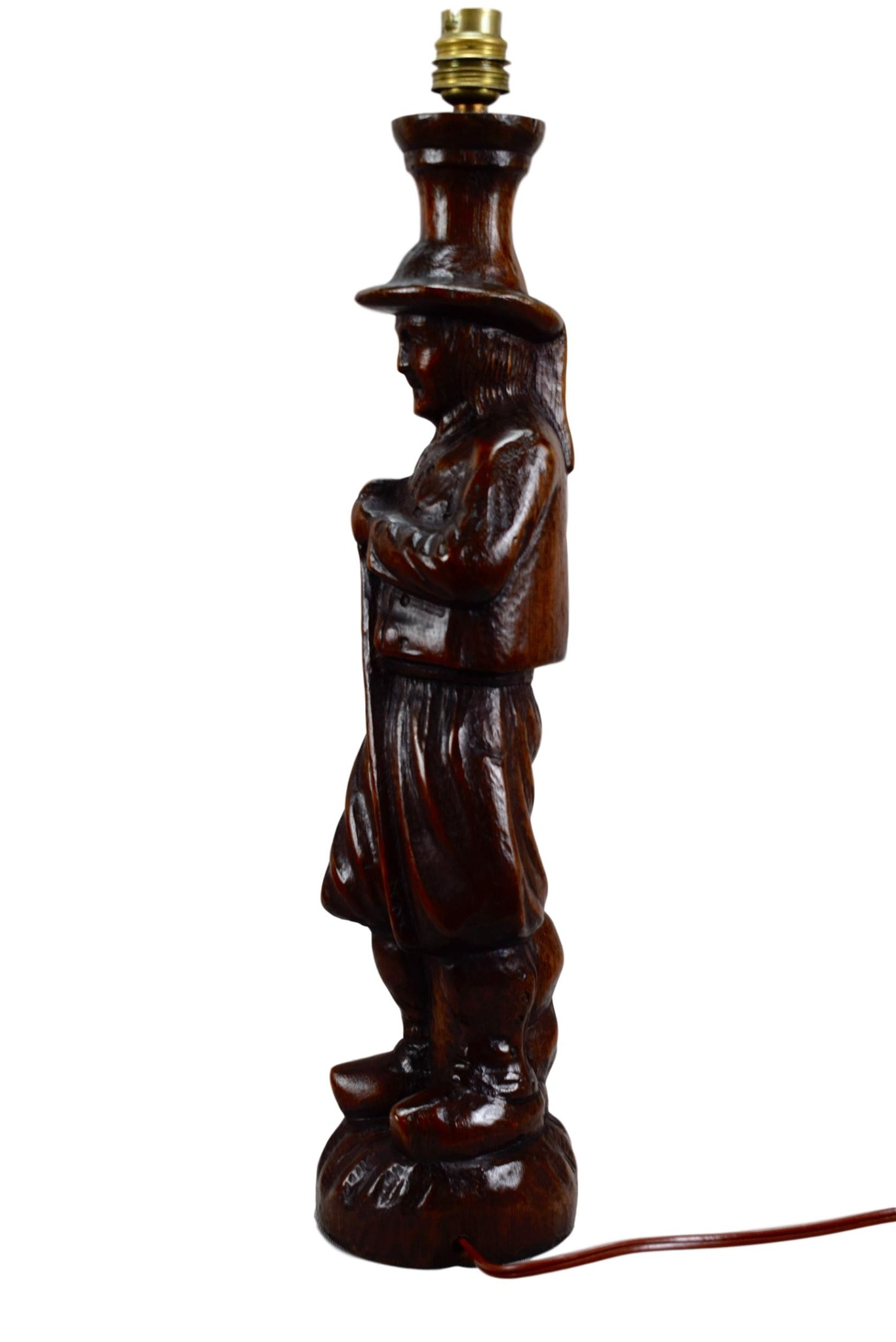 Antique French Large Breton Man Figure Hand Carved Wood Lamp - French Rustic Wooden Lamp Foot - Desk Lamp - French Rustic Farm
